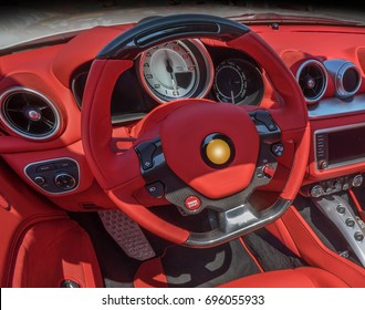 Red leather dashboard in luxurious car