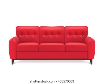 Red leather luxury sofa for modern living room reception or lounge  single object realistic design  illustration
