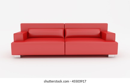red leather modern sofa isolated on white - rendering