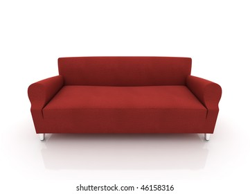 Red leather modern sofa isolated on white background