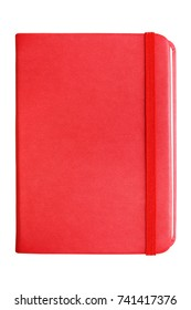 Red leather notebook with elastic band closure isolated on white background.