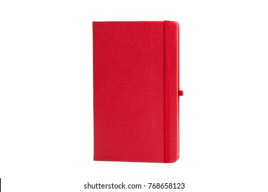 Red Leather PU Agenda Diary Notebook with pen holder isolated on white background.  In stationery, diary or appointment book  is small book containing a main diary section with space for each day.