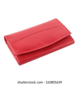 Red leather purse isolated on white background