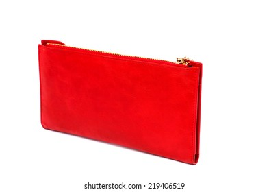 Red leather purse on a white background