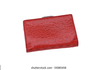 Red leather purse on white background