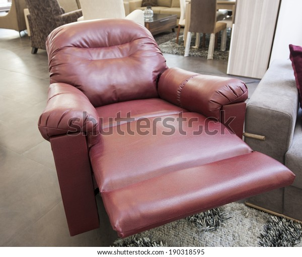 Red Leather Reclining Armchair Furniture Show Stock Photo Edit