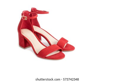 Red Leather Sandals Isolated on White