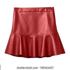 Red leather skirt with flounce isolated on white
