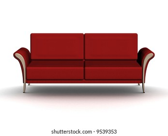 Red leather sofa. An interior. 3D image.