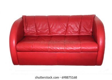 red leather sofa isolated