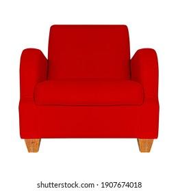 Red leather sofa isolated on a white background