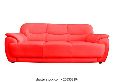 Red leather sofa isolated on white background