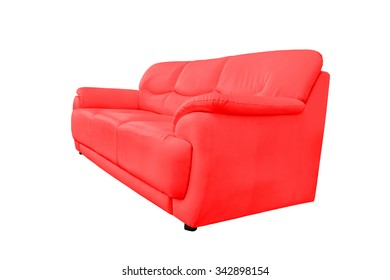 Red leather sofa isolated on white background, with clipping path.