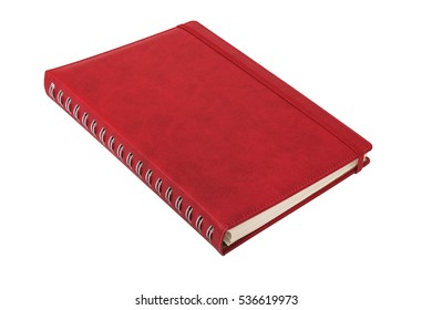 Red leather spiral notebook with elastic band on white background