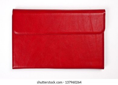 Red leather tablet computer bag on a white background