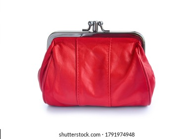 Red leather wallet with clasp isolated on white background.