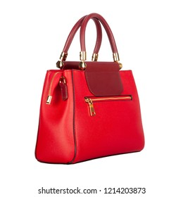 Red leather women bag with burgundy flap top. Side view