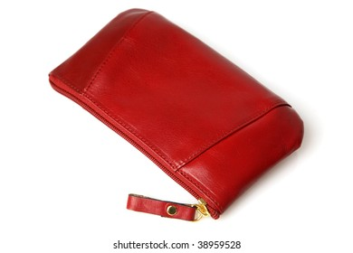 Red Leather Women Purse.