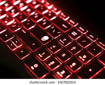 Red LED backlit Keyboard with skull icon key
