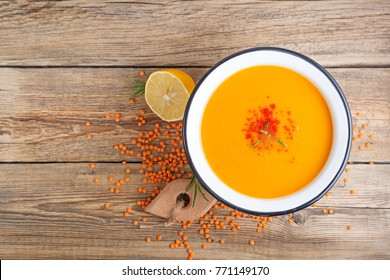 Photo of Red lentil soup.top view.