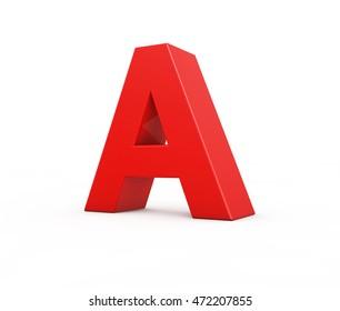 red letter A, 3d illustration.