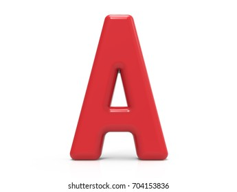red letter A, 3D rendering plastic texture symbol isolated on white background, crimson color thin and tall alphabet