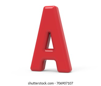 red letter A, 3D rendering red plastic texture alphabet isolated on white background