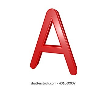 Red letter A isolated on white, 3d illustration
