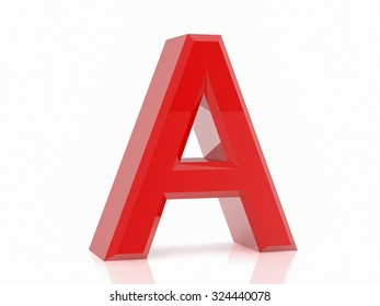 the red letter A on white background 3d rendering