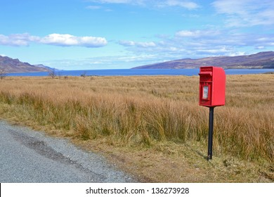 Red letterbox on the Isle of Skye, Scotland