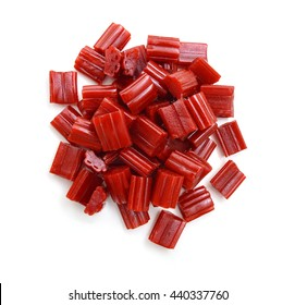 red licorice candies isolated on white
