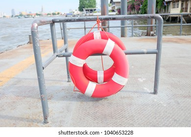 red life ring at the port for save life