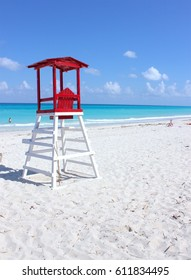 Red lifeguard station on the beach in Cuba