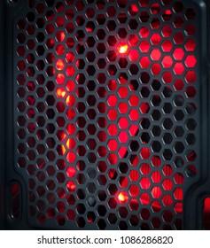 Red light black Metal mesh That is Computer fan