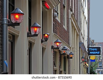 Red light district by dusk in Amsterdam, Netherlands, European union.