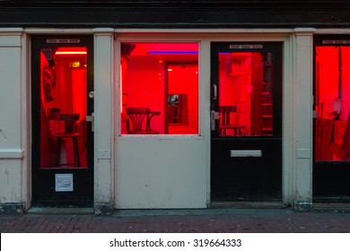 Red light district by night in Amsterdam the Netherlands