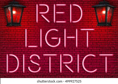 RED LIGHT DISTRICT - Neon Letters sign and vintage Red street lamps (lanterns) lighting  against brick wall background