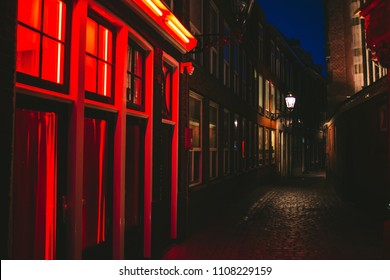 red light district windows alley