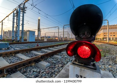 Red light on railway line