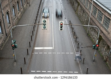 red light, pedestrian and car