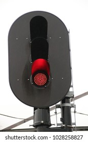 Red light signal to stop trains at railroad tracks in the Netherlands