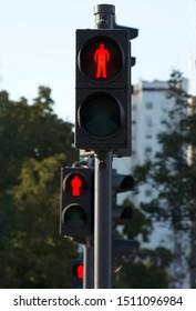 Red light at traffic lights for pedestrians