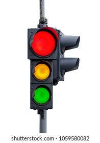 Red light with yellow and green semaphore isolated on white