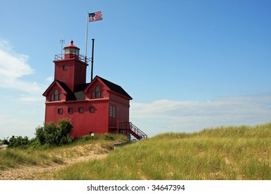 Red lighthouse in Holland, Michigan