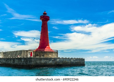 The Red Lighthouse of Hualien Harbor and The Pacific Ocean. A Landmark of Hualien city, Taiwan.