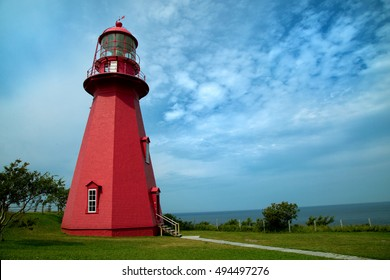The red lighthouse La Martre in Gaspesie, Quebec, Canada in summer