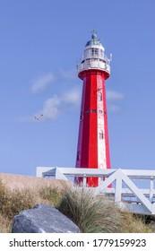 The Red Lighthouse of Scheveningen Beach in The Hague Netherlands.