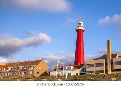 The Red Lighthouse of Scheveningen Promenade Beach The Hague Netherlands.