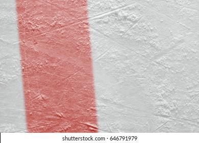 Red line on ice hockey ground. Fragment, hockey, concept