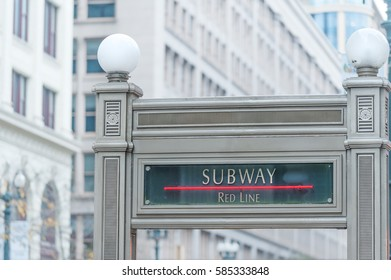 Red line subway station sign in downtown Chicago, Illinois